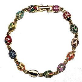 Joan Rivers Gold Tone Hardware with Colorful Enamel Faberge Eggs Lady Bug Bracelet