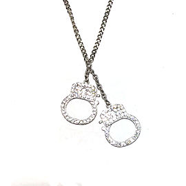 Stainless Steel Handcuff White Rhine Stone Crystals Pendant Necklace