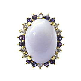 14K Yellow Gold with Lavender Jade, Amethyst and Diamond Ring Size 6.5