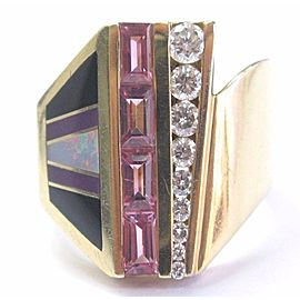 14K Yellow Gold with 0.50ct. Pink Tourmaline 0.45ctw. Diamond Opal and Onyx Ring Size 6.5