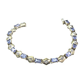 LeVian 14K Yellow Gold 6.00ctw. Tanzanite & 0.05ctw. Diamond Tennis Bracelet