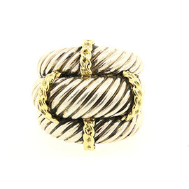 David Yurman 925 Sterling Silver & 14K Yellow Gold Triple Cable Band Ring Size 6.25
