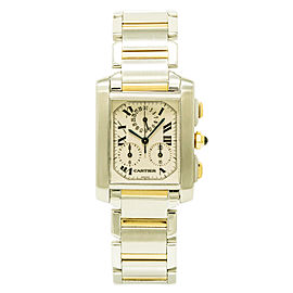 Cartier Tank Francaise Chronoflex 2303 Stainless Steel / 18K Yellow Gold 28mm Womens Watch