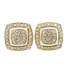 David Yurman 18K White Gold with 0.80ct Pave Diamond Albion Stud Earrings