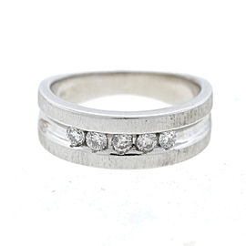 14k White Gold Five Diamond Band Ring