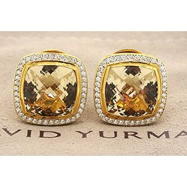 David Yurman 18K Yellow Gold with Citrine & 0.80ct Diamond Albion Stud Earrings