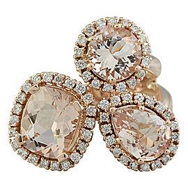 5.69 Carat Morganite 14K Rose Gold Diamond Ring