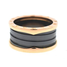 Bulgari B.Zero1 18K Rose Gold & Black Ceramic Ring Size 9