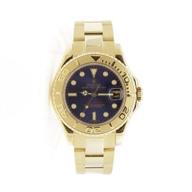 Rolex Yachtmaster 168628 18K Yellow Gold Blue Dial 35mm Unisex Watch