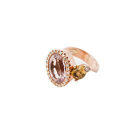 18K Rose Gold Oval Morganite Citrine Stones Diamond Ring Size 6.5 12.7 Grams