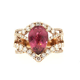 Levian 18K Rose Gold with Rhodolite Garnet & 1.00ct Diamond Ring Size 7