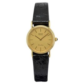 Seiko Exceline 7320-0070 14K Yellow Gold with Gold Dial Quartz 22mm Womens Watch