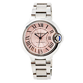 Cartier Ballon Bleu W6920100 Stainless Steel Pink Dial Automatic 33mm Womens Watch
