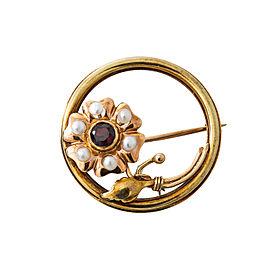 Vintage 14K Yellow Rose Gold Pearls Garnet Flower Pin Brooch 4.3 Grams 30 mm