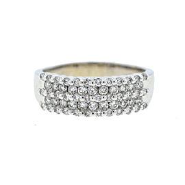 14k White Gold Five Row Diamond Ladies Ring