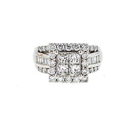 14k White Gold Square Top Mosaic Diamond Ladies Ring