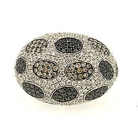 18k White Gold Large Domed Pave 6.15ct White Brown Black Diamond Ring Band 7.5