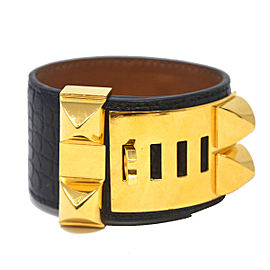 Hermes Gold Tone Hardware with Black Crocodile Collier De Chien Bracelet