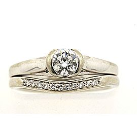 Shane & Co. 14k White Gold .40 Solitaire Diamond Engagement Ring & Band Set 5.5