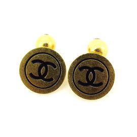 Chanel Gold Tone Hardware Coco Mark Cufflink
