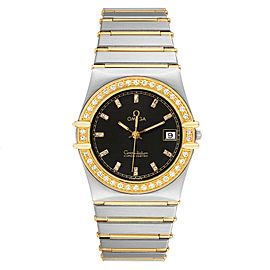 Omega Constellation Steel 18K Yellow Gold Diamond Mens Watch