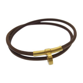 Hermes Gold Tone Hardware And Leather Bracelet