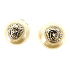 Versace Silver Tone Hardware Medusa Earrings