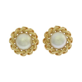 Christian Dior Gold Tone Hardware Faux Pearl Earrings