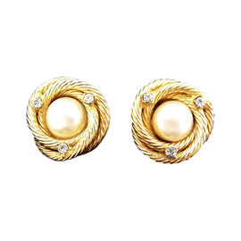 Chanel Gold Tone Hardware with Pearl & Rhinestone Earrings