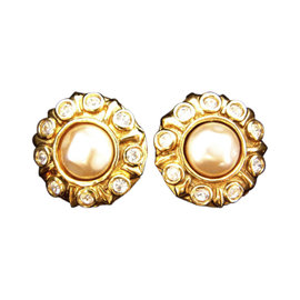 Chanel Gold Tone Hardware with Faux Pearl & Rhinestone Earrings