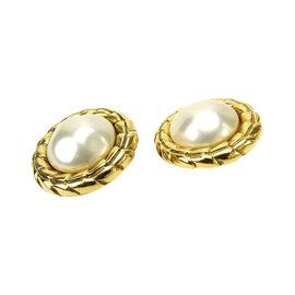 Chanel Gold Tone Hardware & Pearl Earrings