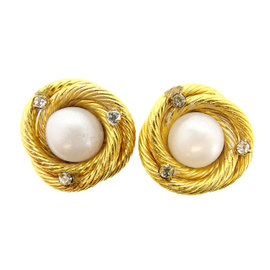 Chanel Gold Tone Hardware with Rhinestone & Pearl Earrings