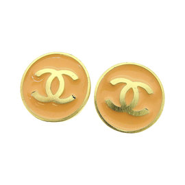 Chanel Pink Gold Tone Hardware Coco Marco Earrings
