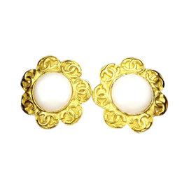 Chanel Gold Tone Hardware Coco Marco Flower Earrings