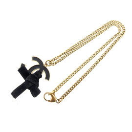 Chanel Gold Tone Hardware with Velor Ribbon Coco Mark Necklace
