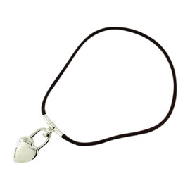 Hermes Silver Tone Hardware And Leather Necklace