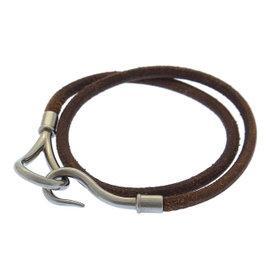 Hermes Silver Tone Hardware & Leather Jumbo Breath Bracelet