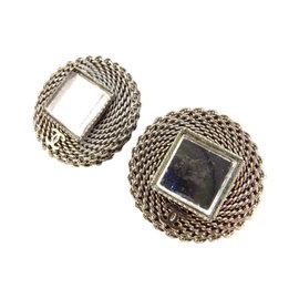 Chanel Silver Tone Hardware Earrings