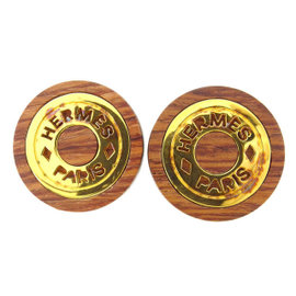 Hermes Gold Tone Hardware And Wood Earrings