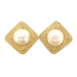 Chanel Gold Tone Hardware & Pearl Earrings