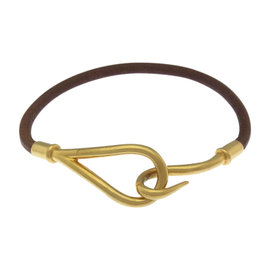 Hermes Gold Tone Hardware And Leather Jumbo Bracelet