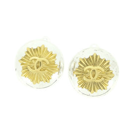 Chanel Gold / Silver Tone Hardware Coco Earrings