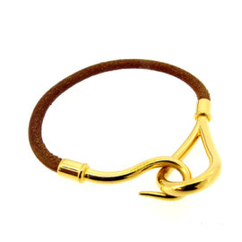 Hermes Gold Tone Hardware & Leather Bracelet
