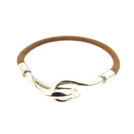 Hermes Silver Tone Hardware & Leather Bracelet