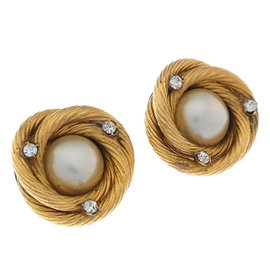 Chanel Gold Tone Hardware Rhinestone Faux Pearl Earrings