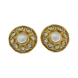 Chanel Gold Tone Hardware with Rhinestone & Pearl Earrings