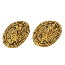 Chanel Gold Tone Hardware Angel Motif Earrings