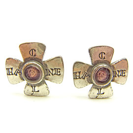 Chanel Silver Tone Hardware with Pink Rhinestone Clover Earrings