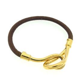 Hermes Gold Tone Hardware & Leather Jumbo Breath Bracelet