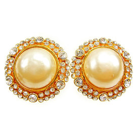 Chanel Gold Tone Hardware Rhinestone & Fake Pearl Earrings